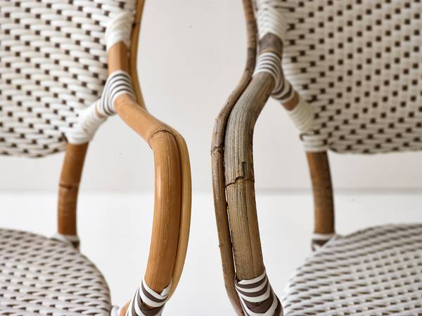 Rattan chairs aged look