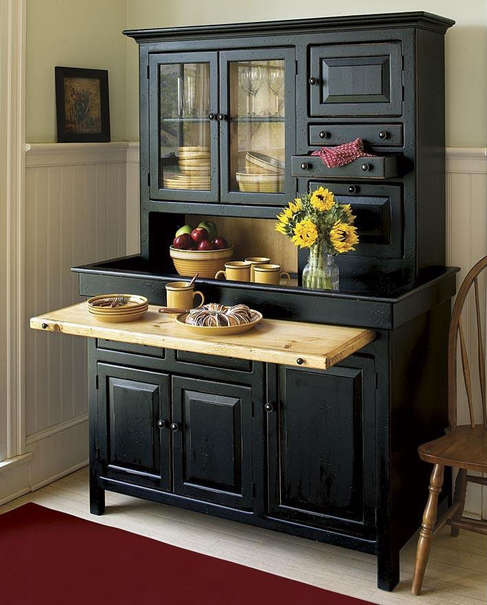 Hoosier pine wood stained black cabinet