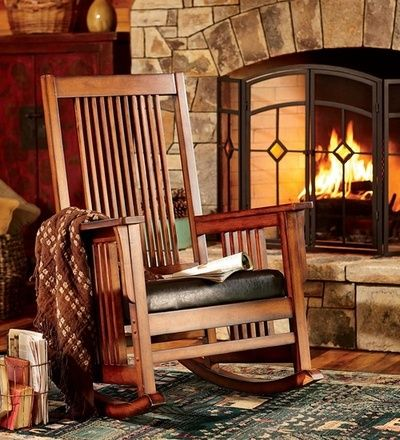 Rocking chair in log cabin