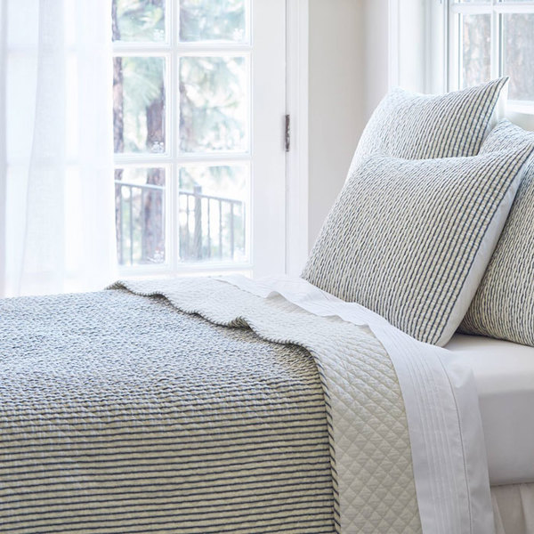 Bergen Stripe Black Bedding by Taylor Linens