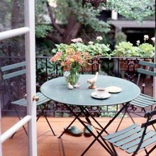 Fermb folding chairs and square table are a part of our bistro patio sets.