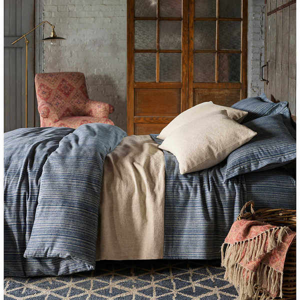 Cascade Stripe Flannel Blue/Oatmeal Bedding by Pine Cone Hill