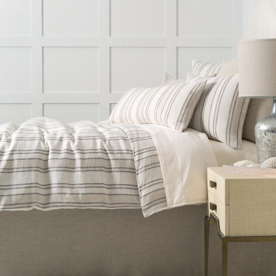 Hampton Ticking Linen Natural Bedding by Pine Cone Hill