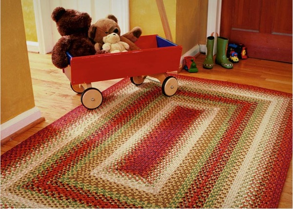 Rectangular Oval Braided Rugs Cotton Throw American Country