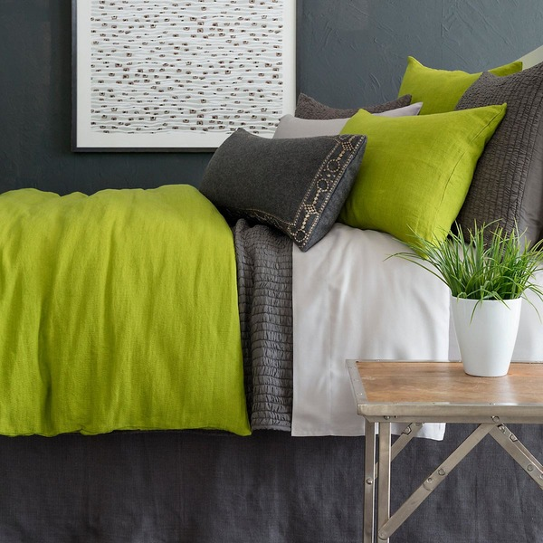 Stone Washed Linen Green Bedding by Pine Cone Hill