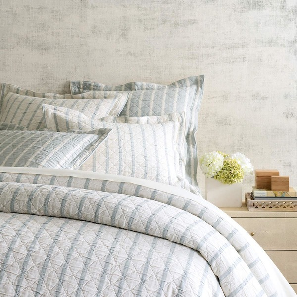 Wainscott Sky Reversible Matelasse Bedding by Pine Cone Hill