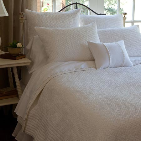 Grace Egg-Shell White Bedding by Taylor Linens