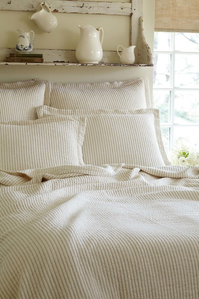 Hudson Cream Strip Matelasse Quilt Bedding by Taylor Linens