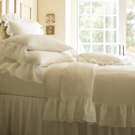 Verandah White Bedding by Taylor Linens