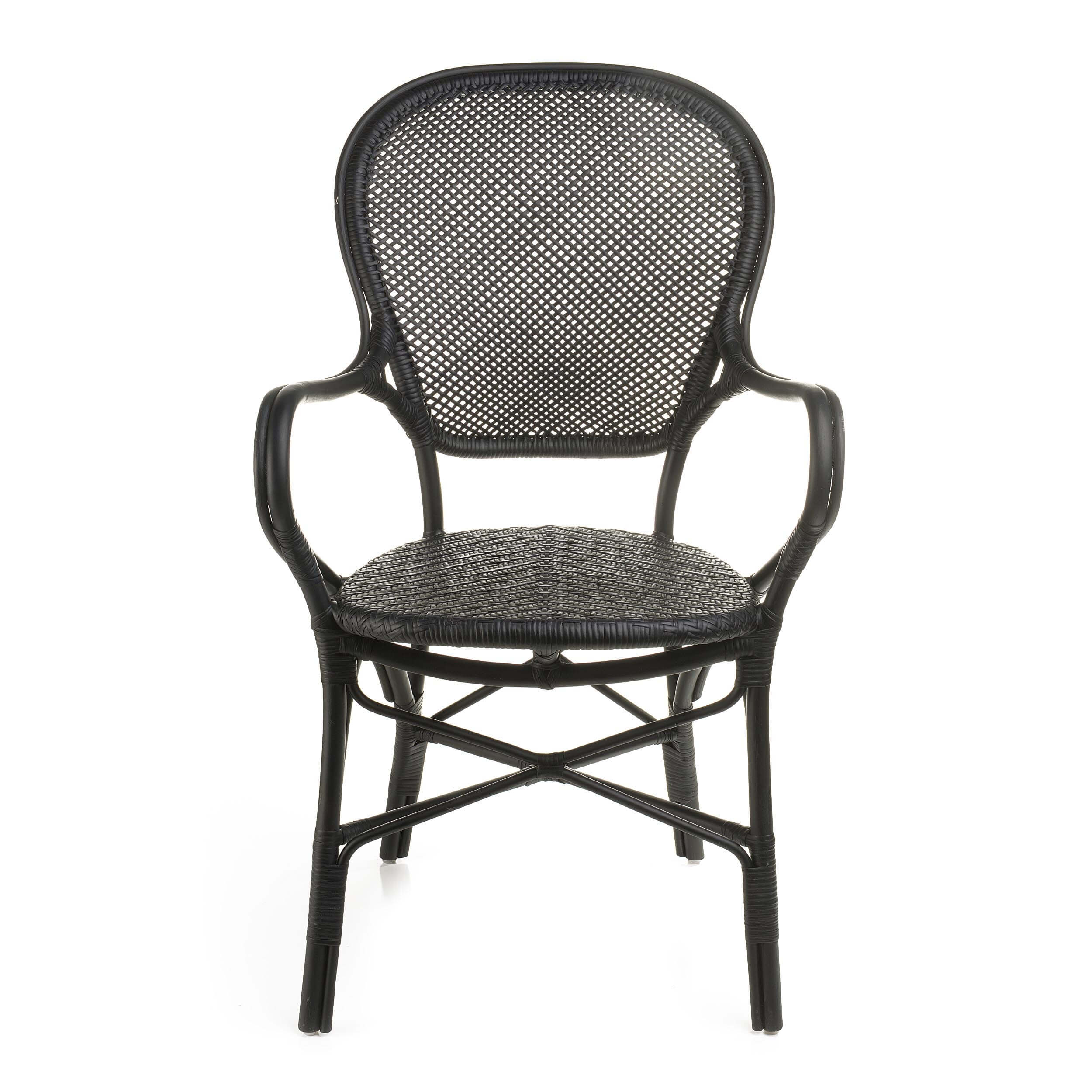Rossini Indoor Bistro Arm Chair by Sika Matte Black
