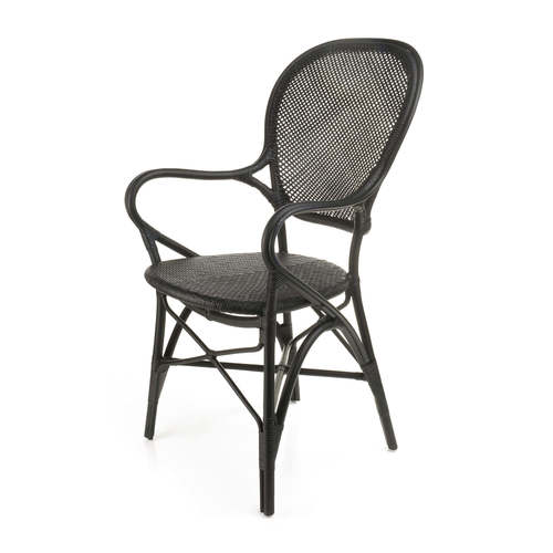 Rossini Indoor Bistro Arm Chair by Sika Matte Black – Black Bistro Chair