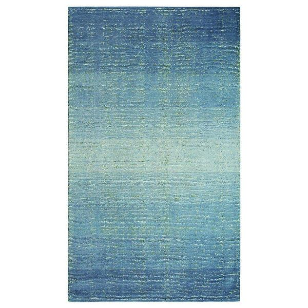 Sari Stripe Blue Hooked and Tufted Wool and Silk Rug by Company C