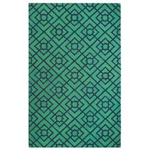 Diamond Lattice Green and Navy Jute Rug