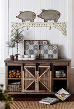 Large farmhouse cabinet in room setting