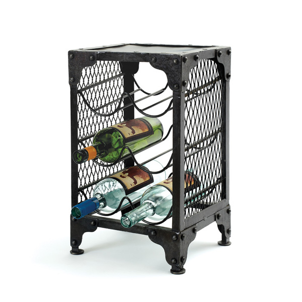 6 bottle industrial wine rack