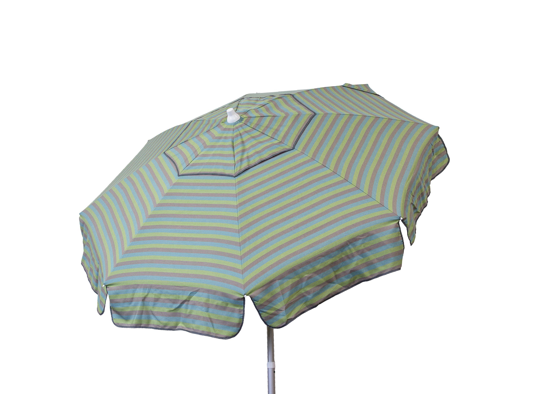 6u0027 Italian Euro Stripe Seablue, Taupe And Olive Patio Umbrella