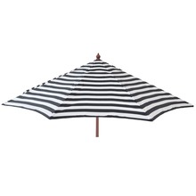 9' Black and white stripe with wood pole umbrella