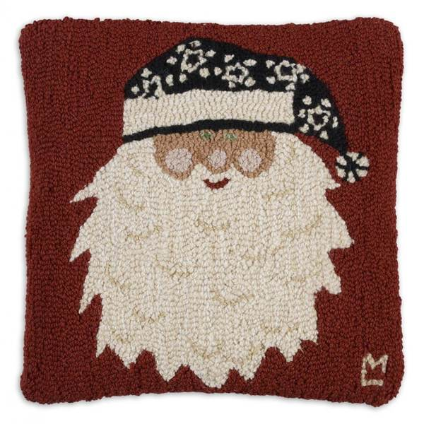 Santa's New Hat Hooked Pillow by Chandler 4 Corners