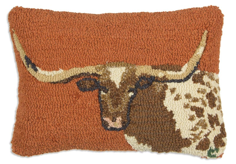 Long Horn Steer Hooked Pillow by Chandler 4 Corners