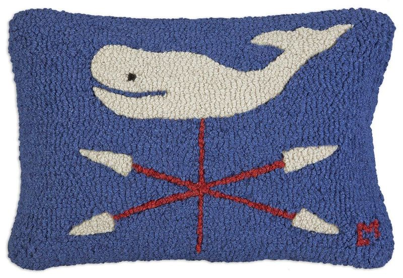 Whale Vane Hooked Pillow by Chandler 4 Corners
