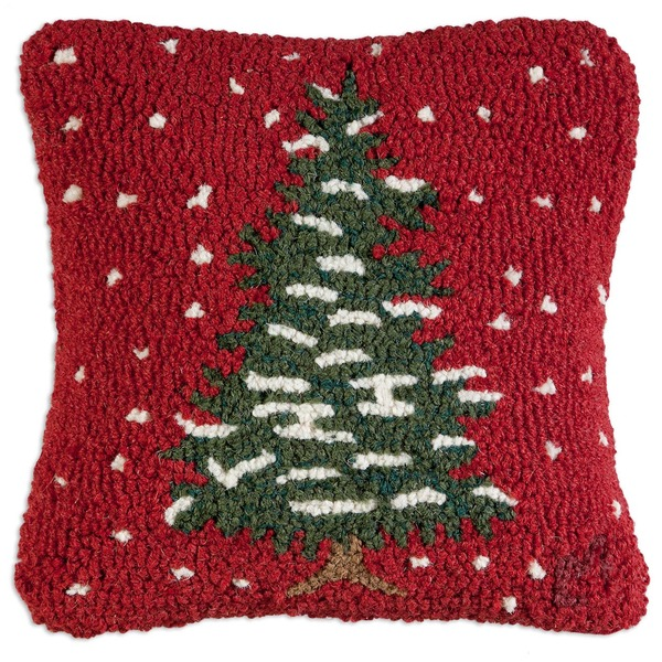 Red Flurries Hooked Pillow by Chandler 4 Corners