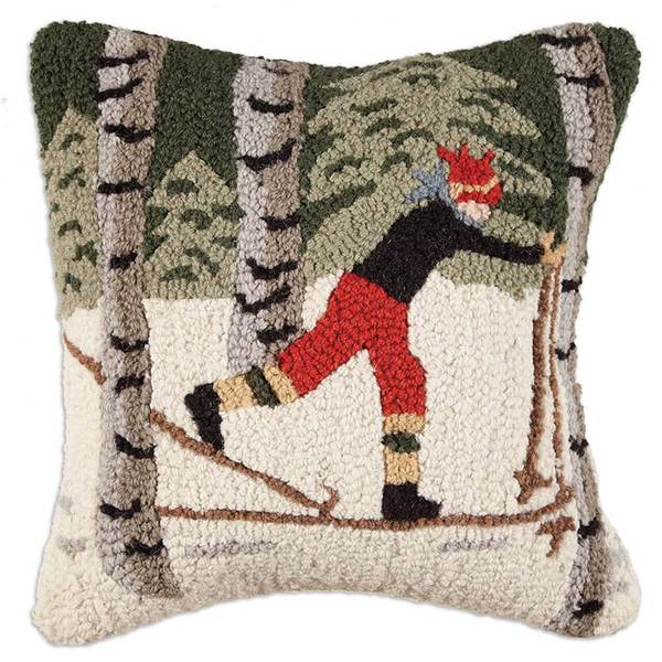 Back Country Skier Hooked Pillow