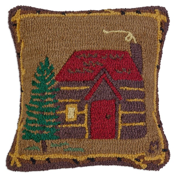 Cabin in the Woods Hooked Pillow by Chandler 4 Corners