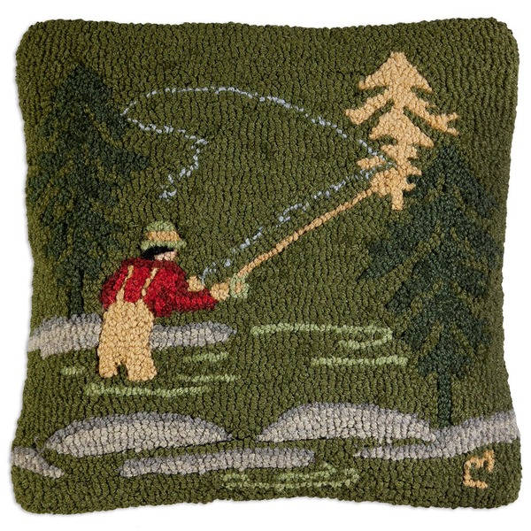 Fly Fisherman Hooked Pillow by Chandler 4 Corners