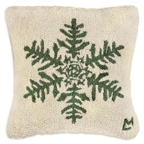 Forest Flake Hooked Pillow by Chandler 4 Corners