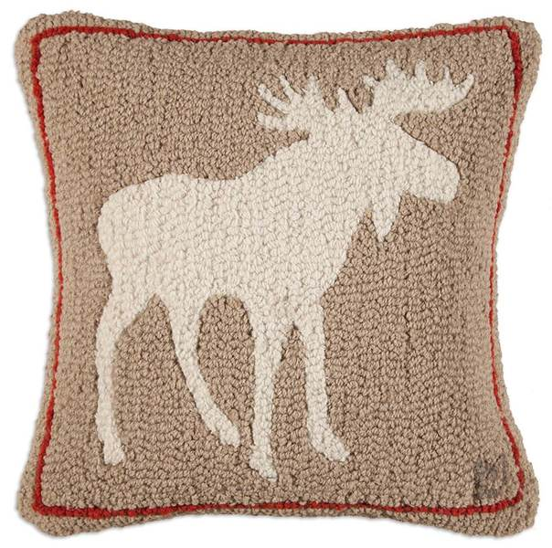 Khaki Moose Hooked Pillow by Chandler 4 Corners