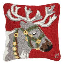More about the 'Reindeer Halter Green Hooked Pillow by Chandler 4 Corners' product