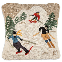 "Skiers descend the mountain in this colorful pillow that is sure to attract attention.  18"" square hand hooked pillow, made with 100% natural wool."