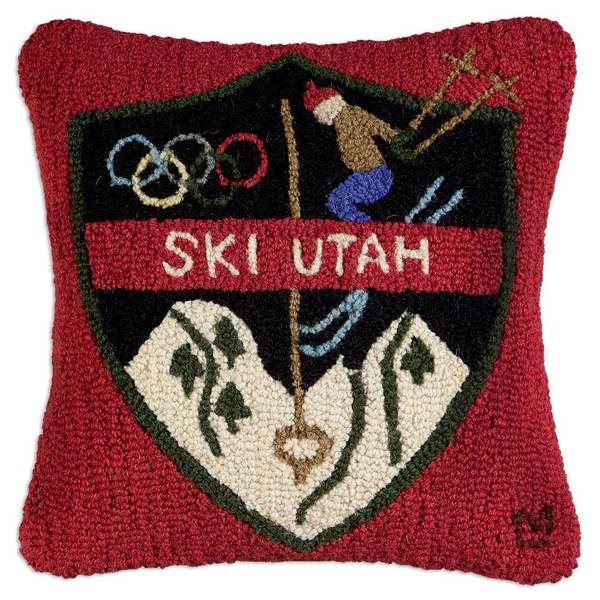 Ski Utah Patch Hooked Pillow by Chandler 4 Corners