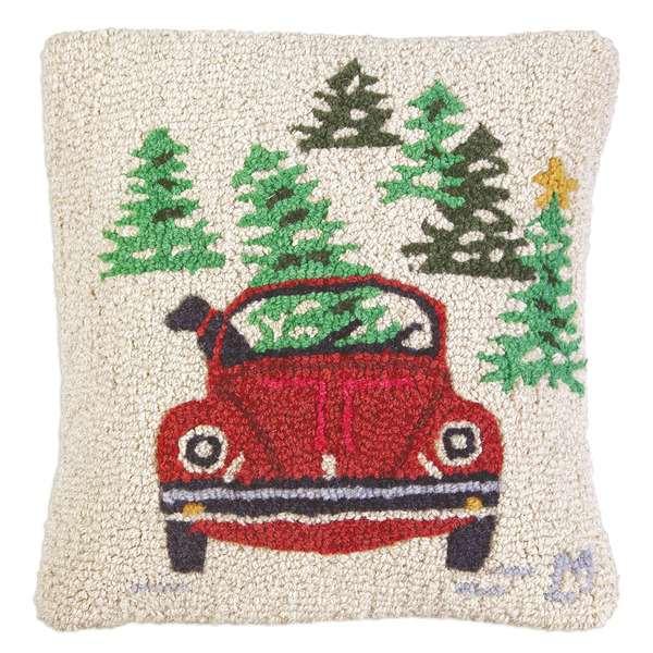 Dog in VW Christmas Pillow by Chandler 4 Corners
