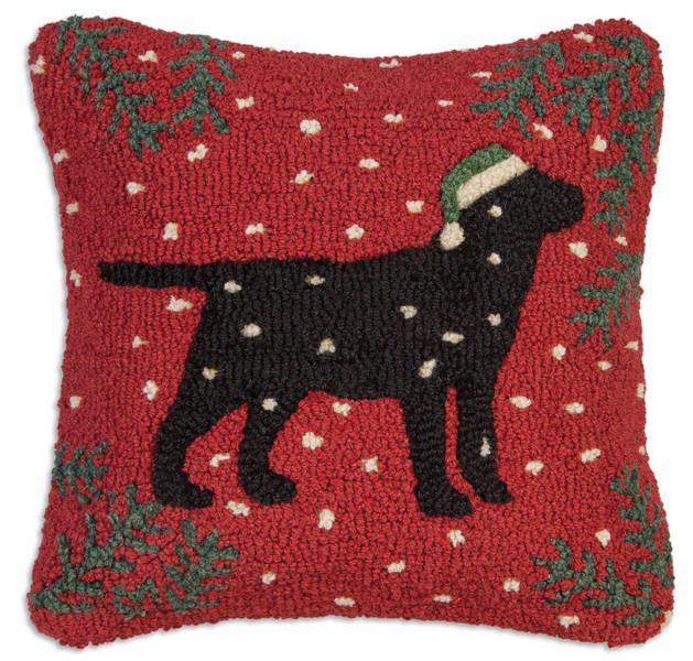 Christmas Black Lab Pillow by Chandler 4 Corners