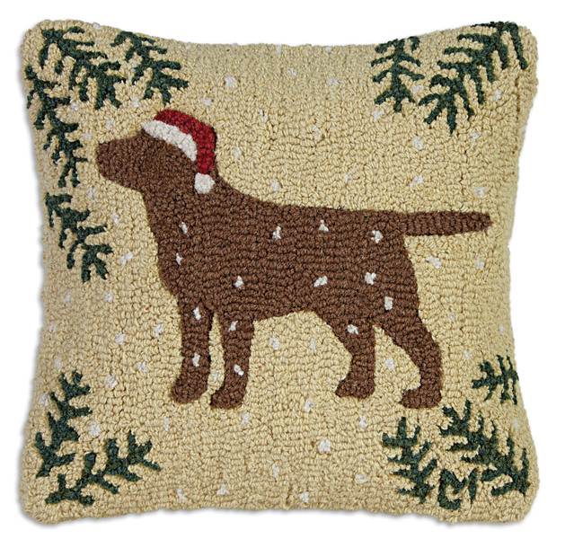 Christmas Chocolate Lab Hooked Pillow by Chandler 4 Corners