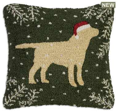 Christmas Yellow Lab Hooked Pillow