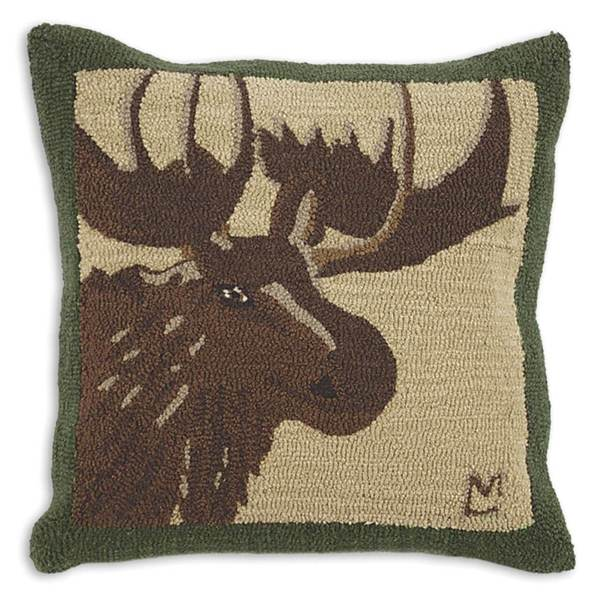 Great Moose Hooked Pillow by Chandler 4 Corners