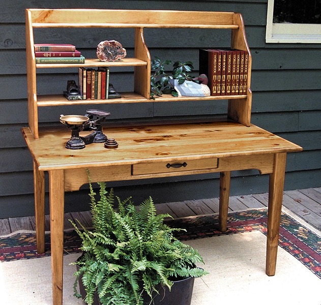 Southern Pine Library Desk with Hutch