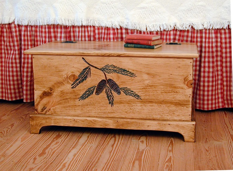 Southern Pine Handcarved Pine Lodge Trunk