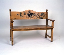 Southern Pine Handcarved Bench with Pine Cones