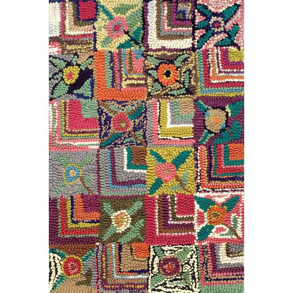 Gypsy Stripe Turquoise Grey Woven Cotton Rug: Dash & Albert Gypsy Rose Hooked Cotton Rug With Free