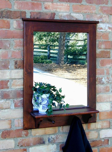 Southern PineTwo Peg Mirror with Shelf