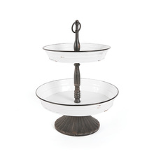 two-tiered enamelware server