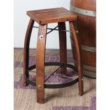 Stave Stool w/Wood Seat