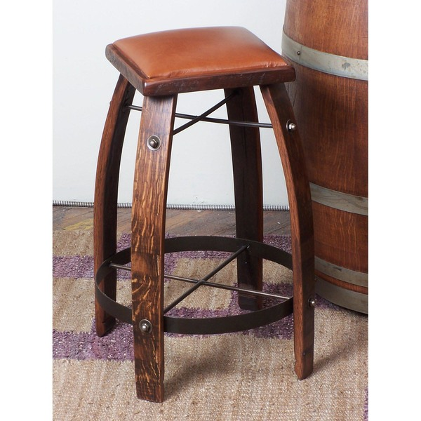 Stave Bar Stool w/Leather Seat