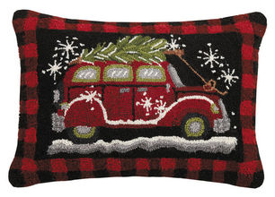 Holiday Car Plaid Hooked Pillow
