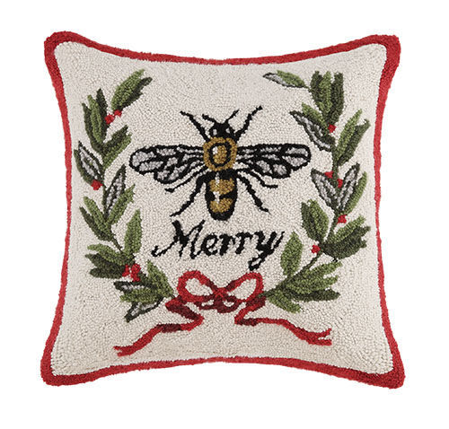 Merry Bee Hooked Pillow