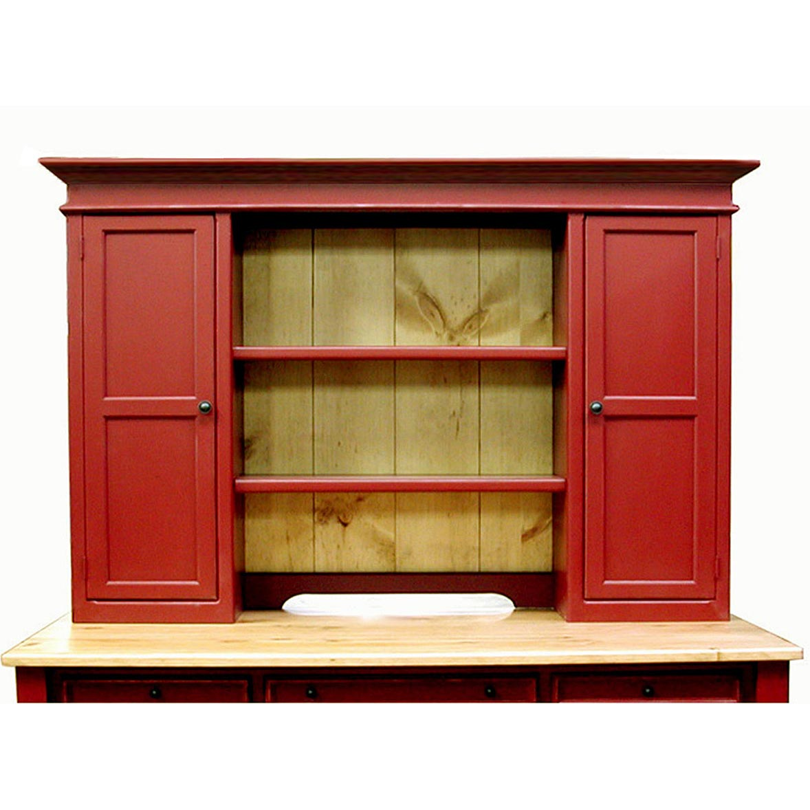 Superb Southern Pine Hutch Top With Doors