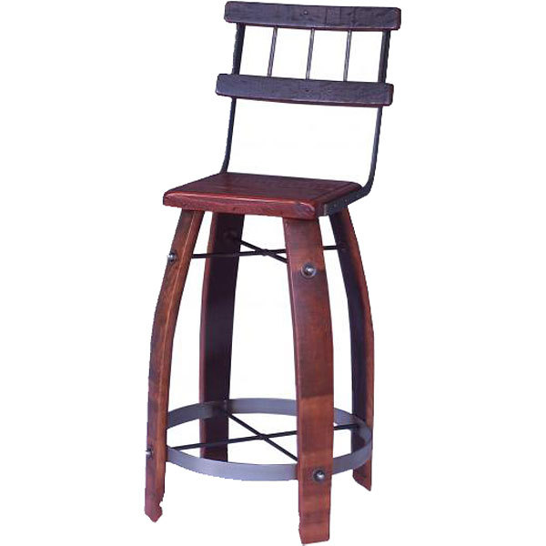 Wood Stave Stool with Back
